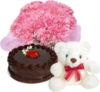12 Pink carnations Bunch + 1/2 kg cake+ Teddy