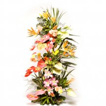 3 feet arrangement of Lilies Anthuriums and Bird of Paradise