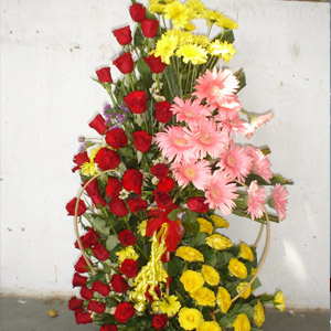 Large arrangement in 3 feet of roses and gerberas