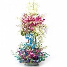 Blue and purple Orchids 2 tier arrangement