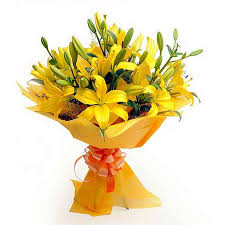 A bouquet of yellow lilies