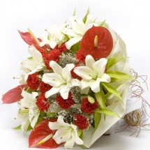 White Lilies red Anthuriums in bouquet