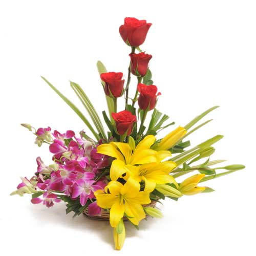 5 red roses 5 yellow lilies 5 purple orchids basket
