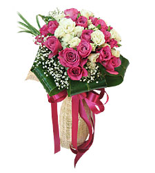 An arrangement of 24 Pink and white roses.