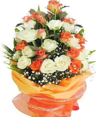 24 Orange and white roses in a basket with orange wrapping.