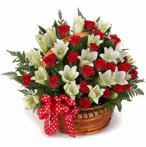 24 Red roses 10 White lilies Basket
