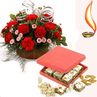 Half Kg Assorted Mithai + 12 red rose Basket