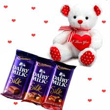 Three Silk chocolates and 6 inches Teddy