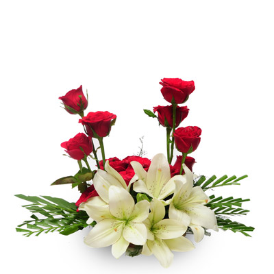 12 Red roses 4 white lilies in basket