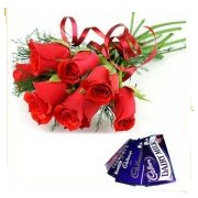 6 Red Roses with 2 dairy milk