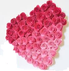 50 pink Ombre roses in heart