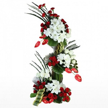 3 to 4 feet White lilies with red roses