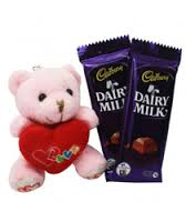 2 Silk Chocolates with 6 inch Teddy