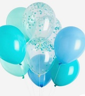 10 Helium Gas filled Blue and White Balloons tied to ribbons