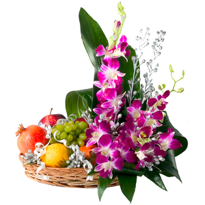 6 Orchids with 2 kg fruits basket