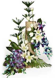 Blue Orchids and White Liliums Basket with Mat