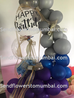 50 Purple Blue Silver Balloons Air filled with happy birthday printed balloon 12 roses