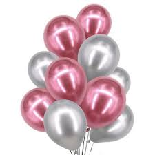 15 Pink and silver helium gas filled balloons tied with ribbons
