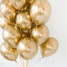 15 Helium Gas pre filled gold Balloons tied to ribbons