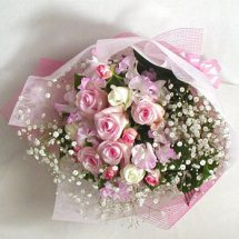 24 dozen pink color roses basket