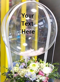 12 White flowers with a transparent balloon with your personalised message
