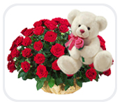 24 Red Roses with Teddy in same basket