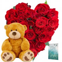 Teddy (6 inches) with 24 red roses heart basket and Card