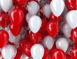 20 Helium Gas filled Red and white Balloons tied to ribbons