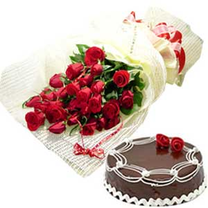 Half Kg. Black Forest Cake and 6 Roses