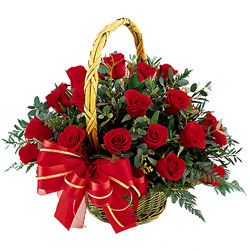12 red roses basket arrangement