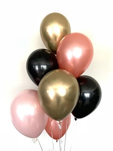 10 Gas inflated rose gold Black Pink Balloons tied with ribbons