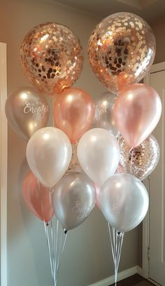 10 Rose Gold Gas balloons pre filled tied with ribbons
