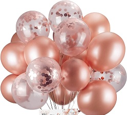 15 Rose Gold helium Gas balloons pre filled tied with ribbons and roses