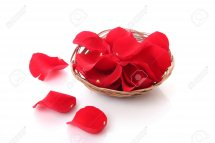 Rose petals in a basket