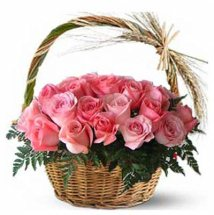 Basket arrangement of 2 dozen pink roses