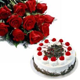 1 2 KG Cake 12 Red Roses