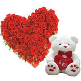 24 red roses heart and 6 inch Teddy