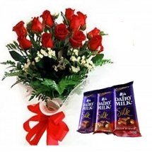 12 Red roses bouquet Three Silk chocolates