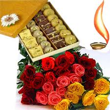 Half Kg. assorted Indian sweets and a bouquet of 24 mixed color roses
