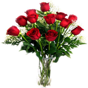 12 red roses arrangement in a vase