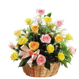 Basket arrangement of 2 dozen pink yellow roses