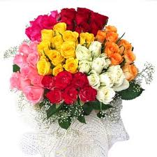 50 assorted color rose bouquet