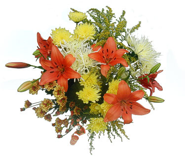 Orange Liliums and Yellow carnations bouquet