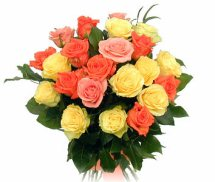 A hand posy of 18 mixed colored roses