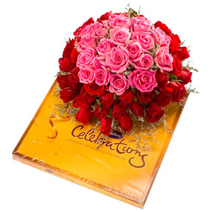 24 Pink and Red roses Bunch+ Cadburys celebrations
