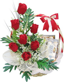 6 red roses arrangement in a basketwith 16 Ferrero rocher.