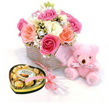 12 Pink Roses in Vase+Pink Teddy+ Heart shaped chocolate box