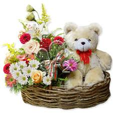 Teddy, 2 dozen Mix Flowers in same basket