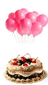 6 pink air filled Balloons with 1/2 Kg Black Forest Cake