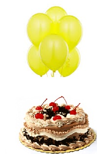 6 yellow air filled Balloons with 1/2 Kg Black Forest Cake